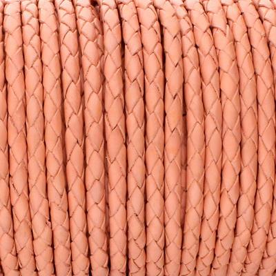 Lederband rund geflochten, 100cm, 3mm, LACHSROT