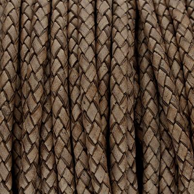 Premium Lederband rund geflochten, 100cm, 5mm, ANTIKGRAU meliert