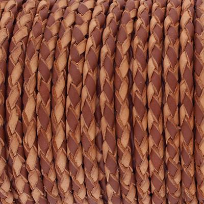 Lederband rund geflochten, 100cm, 3mm, NATUR-BRAUN