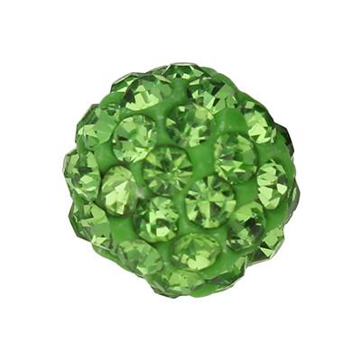 Perle mit Strasssteinen innen 1mm, Ø 8mm grün
