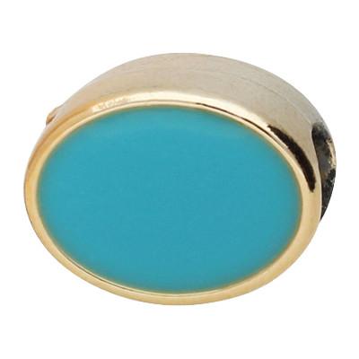 Großlochperle, oval, innen 5mm, 13x8mm, roségoldfarben-blau, Acryl