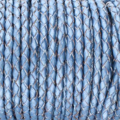 Lederband rund geflochten, 100cm, 6mm, METALLIC BLAU