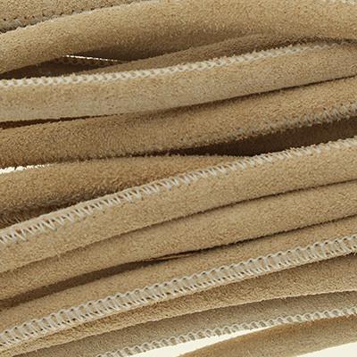 Veloursleder rund gesäumt, 100cm, 6mm, BEIGE