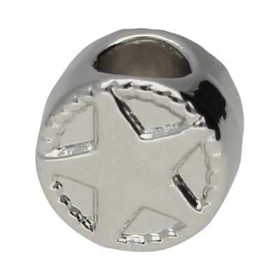 Grosslochperle mit Stern, innen 4,5mm, 10x7mm, platinfarben, Metall