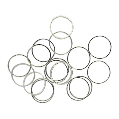 Ring, rund, 10 Stück, 8mm, innen 6mm, Metall, silberfarben