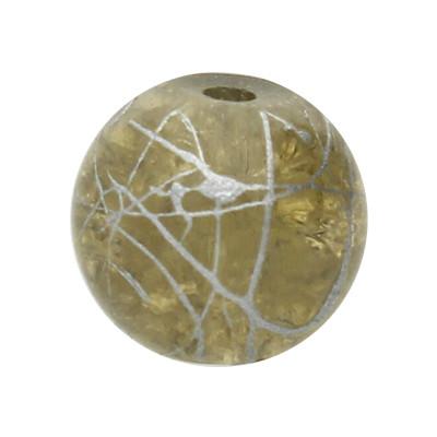 Glasperle, innen 1mm, 8mm, BEIGE mit silberfarbener Verzierung