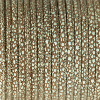 Nappaleder rund gesäumt, 100cm, 4mm, TAUPE Rochenlederprägung