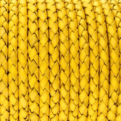 Lederband rund geflochten, 100cm, 4mm, SONNENGELB
