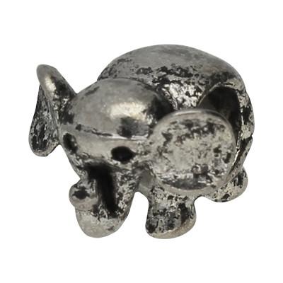 Grosslochperle, Elefant, innen 4,5mm, 11x10,5x10mm, antik silberfarben, Metall