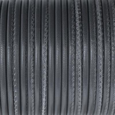 Nappaleder rund gesäumt, 100cm, 4mm, ELEFANTENGRAU