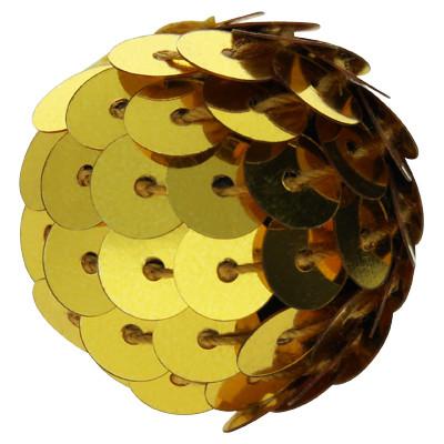 Perle, innen 3mm, Ø 20mm, goldfarben, Pailletten