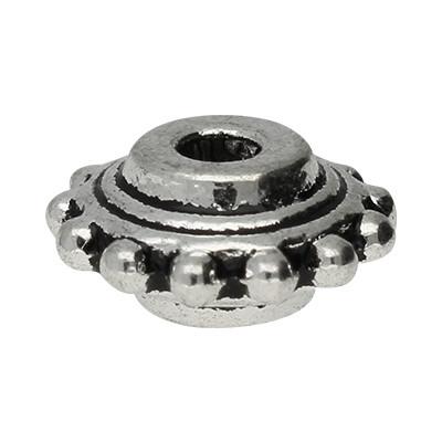 Perle verziert, innen 1mm, 10x5mm, rund, silberfarben, Metall