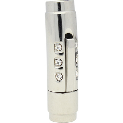 Bajonettverschluss mit Strasssteinen, 5mm, 29x8x9mm, Edelstahl, silberfarben