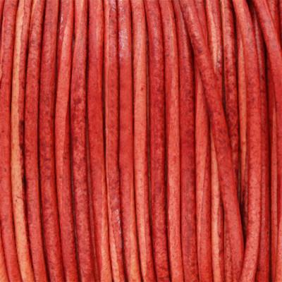 Rundriemen, Lederschnur, 100cm, 1,5mm, VINTAGE ROT