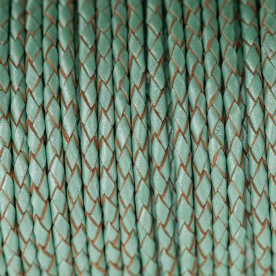 Lederband rund geflochten, 100cm, 3mm, METALLIC PASTELL EISGRÜN mit Naturkanten
