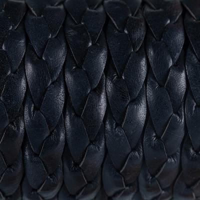Rindsleder flach geflochten, 15x3mm, SCHWARZ
