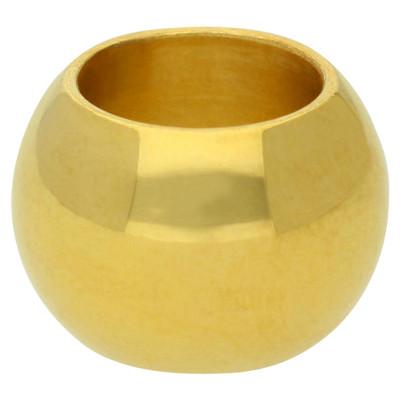 Großlochperle, innen 8mm, 13x9mm, goldfarben, Edelstahl