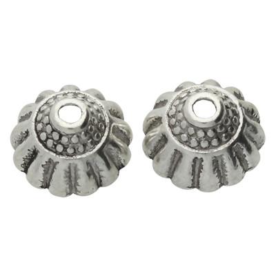 Perlenkappe (2 Stück), innen 1,5mm, 10x5,5mm, antik-silberfarben, Metall