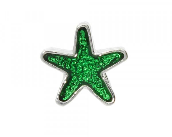 Großlochperle Stern, 11x10x8mm, innen 5mm, grün-silberfarben, Metall
