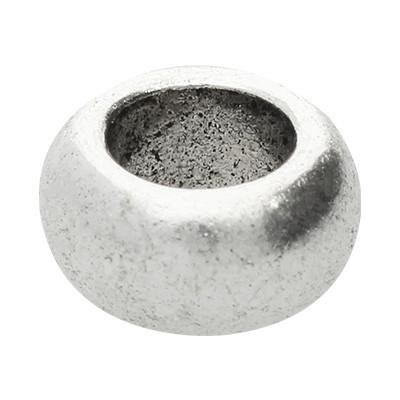 Grosslochperle, innen 5,5mm, 10x5mm, antik silberfarben, Metall