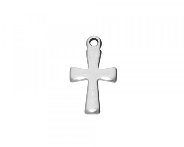 Anhänger Kreuz, 12x7x1mm, Loch 1mm, Edelstahl