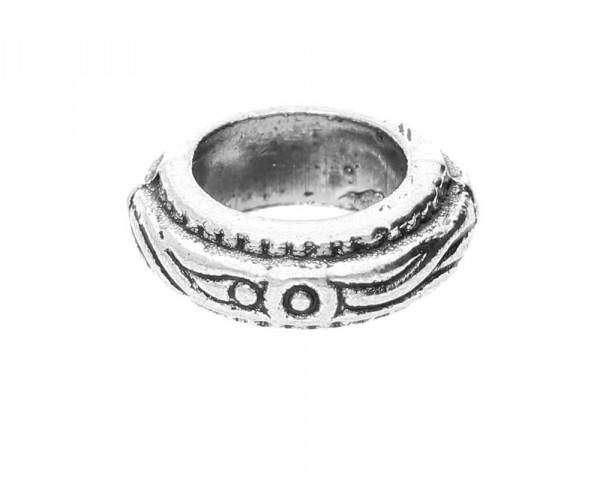 Großlochperle mit Verzierung, innen 7mm, 11x4mm, antik silberfarben, Metall
