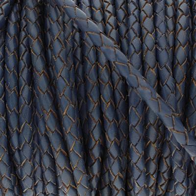 Premium Lederband rund geflochten, 100cm, 6mm, NAVY