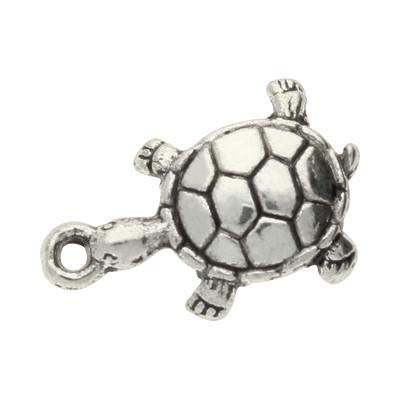 Anhänger, Schildkröte, 18x12x3mm, silberfarben, Metall