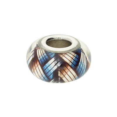 Großlochperle, innen 5mm, 14x8mm, multicolor, Glas