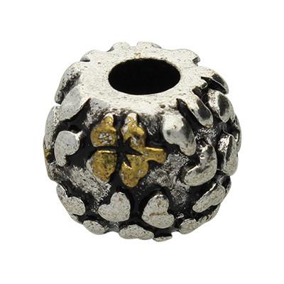 "Großlochperle ""Blumenmuster"", innen 4mm, 13x10mm, antik-silberfarben, Metall"
