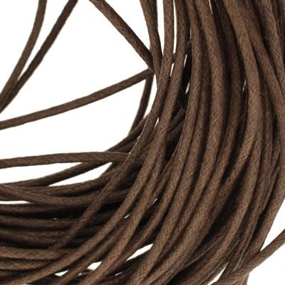 Gewachstes Schmuckband aus Baumwolle, 100cm, 2mm breit, dunkelbraun