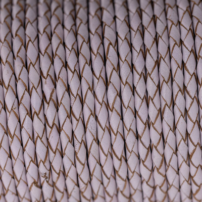 Lederband rund geflochten, 100cm, 4mm, BABYROSA mit Naturkanten