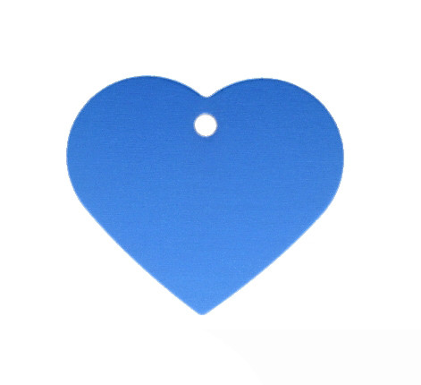 Anhänger, Herz, 32x35mm, blau, eloxiertes Aluminium