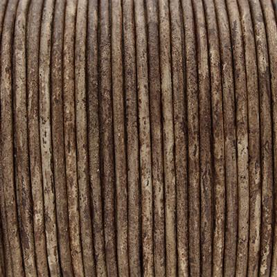 Rundriemen, Lederschnur, 100cm, 2mm, DUNKELBRAUN meliert