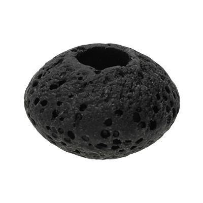 Großlochperle, innen 5mm, 15x9mm, schwarz, Lava