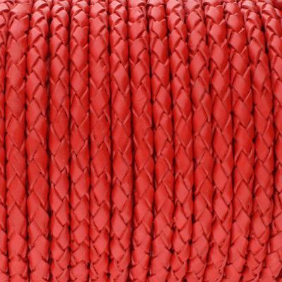 Lederband rund geflochten, 100cm, 3mm, FEUERROT