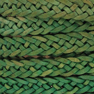 Flachriemen Rindsleder geflochten, 200cm (vorgeschnitten), 10x2mm, GRÜN