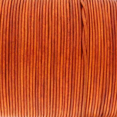 Rundriemen, Lederschnur, 100cm, 1mm, SPICY ORANGE VINTAGE