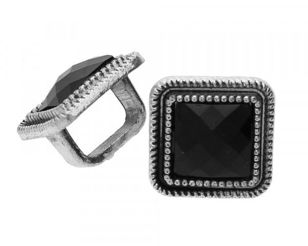 Schiebeperle / Slider, schwarz verziert, 16,3 x 11,8 mm, Metall, versilbertGröße Fädelöffnung: 10 x