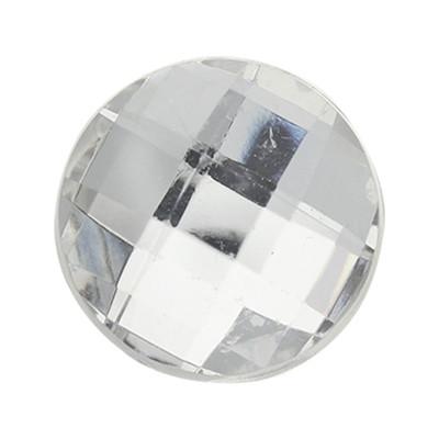 Cabochon, rund, 5 Stück, 18x5mm, kristall, glatte Rückseite