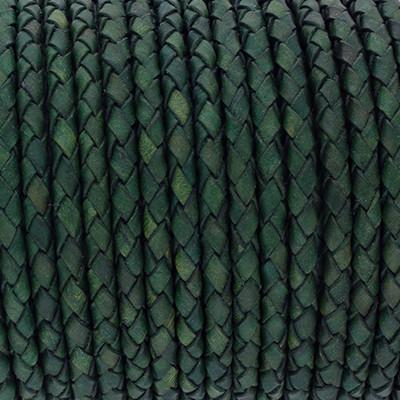 Lederband rund geflochten, 100cm, 4mm, GRÜN Vintage