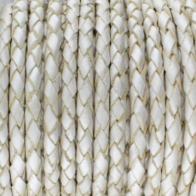 Lederband rund geflochten, 100cm, 6mm, METALLIC PERLMUTT