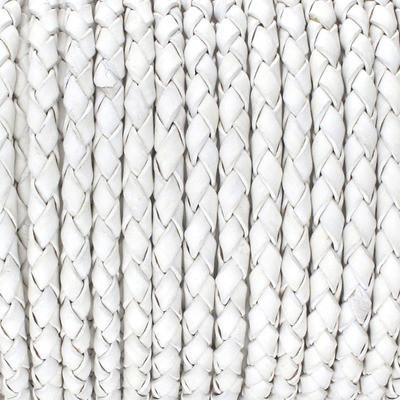 Lederband rund geflochten, 100cm, 4mm, WEISS