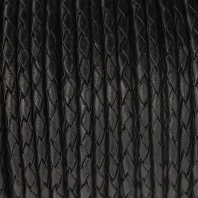 Lederband rund geflochten, 100cm, 3mm, SCHWARZ VINTAGE