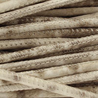 Nappaleder rund gesäumt, 100cm, 2,5mm, CREME-TAUPE Schlangenprägung