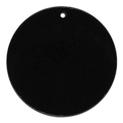 Anhänger rund, 25x3mm, Loch Ø 1mm, schwarzer Achat