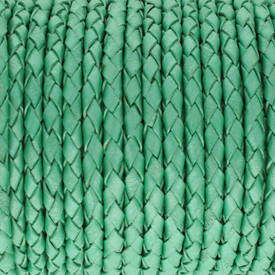 Lederband rund geflochten, 100cm, 5mm, METALLIC PASTELL MINZE