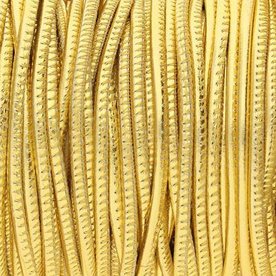 Premium Nappaleder rund gesäumt, 100cm, 4mm, METALLIC GOLD