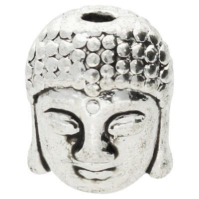Perle, Buddha, innen 2mm, 11x9x8mm, antik-silberfarben, Metall