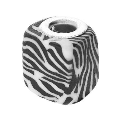 Großlochperle, innen 5mm, 13x12mm, Zebra schwarz-weiß, Acryl